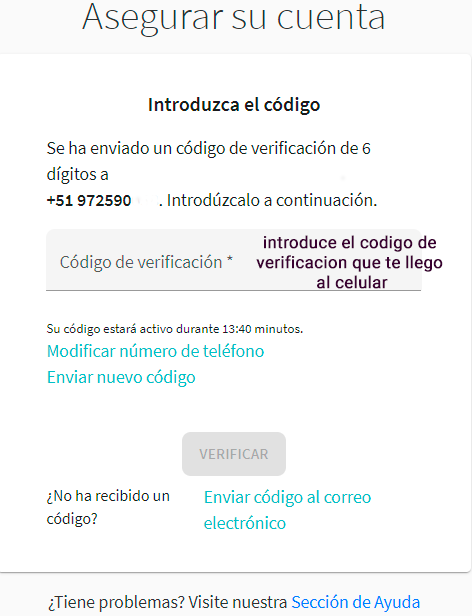 INTRODUCE CODIGO DE VERIFICACION