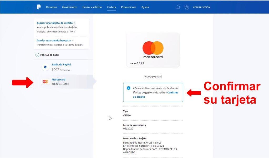 confirmar-su-tarjeta asociada a paypal